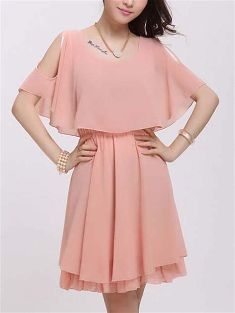 Dress Pink Fit L pink fit flare above knee plus size dress for