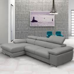 nicoletti lipari grey italian leather sofa chaise left