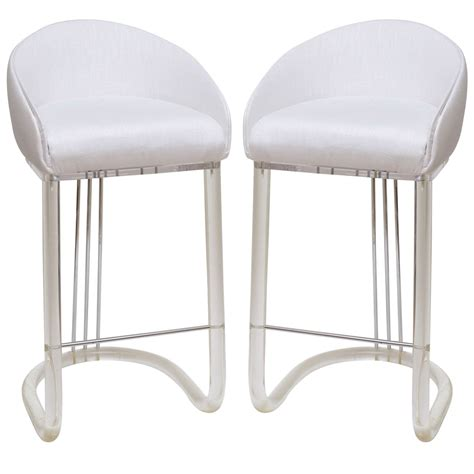 lucite bar stools for sale lion in frost pair of lucite and upholstered swivel bar