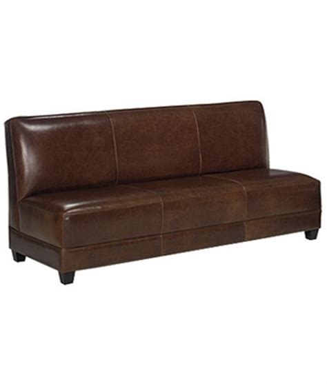 Armless Settee Sofa Armless Leather Tight Back Settee Sofa W Tapered Legs