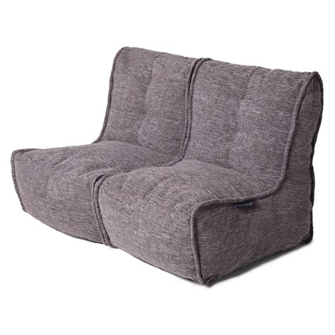 couch bean bag 2 seater gery sofa designer bean bag couch grey fabric