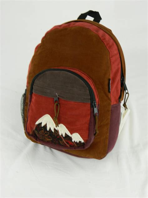Patchwork Mountain - patchwork corduroy backpack with mountain applique large