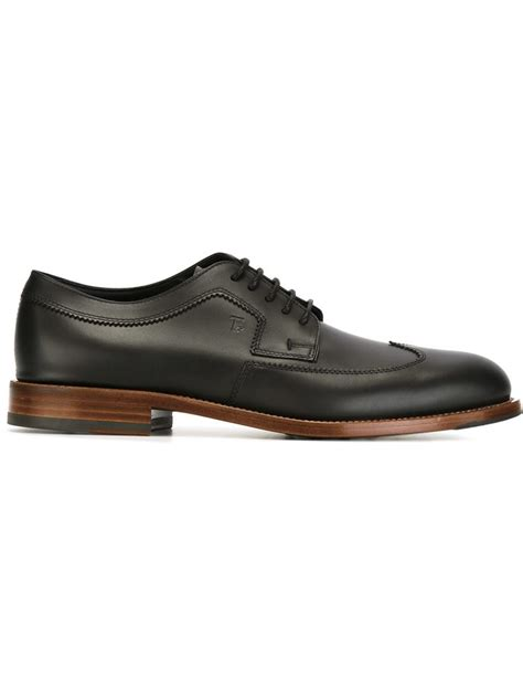 tod s stacked heel derby shoes in black for lyst