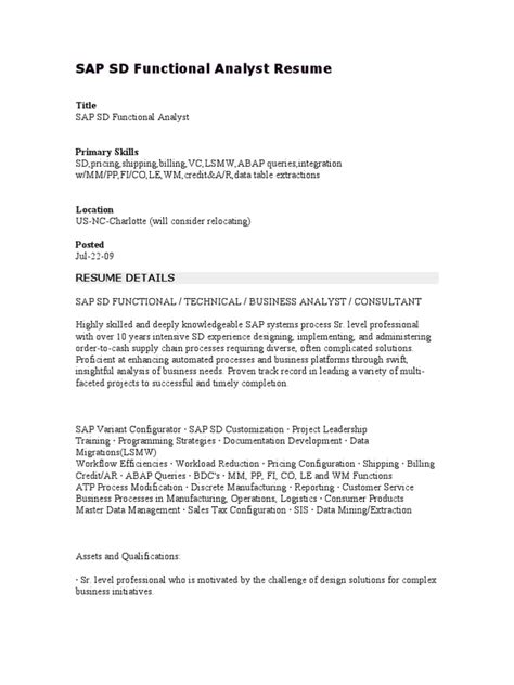 Sap Business Analyst Sle Resume by Sap Sd Functional Analyst Resume Sales Sap Se