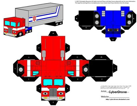Transformers Papercraft Optimus Prime - cubee prime truck by cyberdrone on deviantart