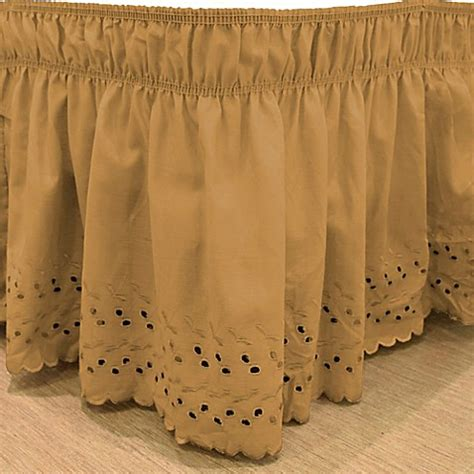 gold bed skirt buy easyfit eyelet queen king ruffled bed skirt in gold from bed bath beyond