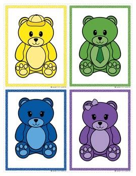 bears colors color matching bears color match clip cards for