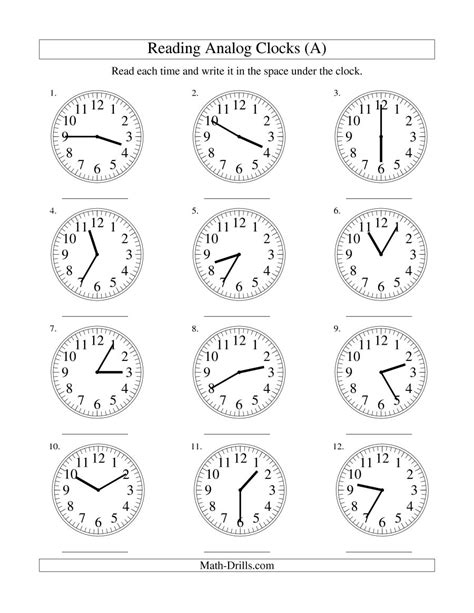 analog clock worksheets reading time on an analog clock in 5 minute intervals a