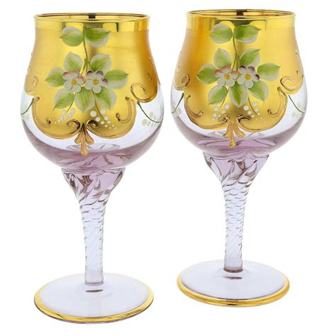 Barware Glasses Murano Glass Goblets Set Of Two Murano Glass Wine