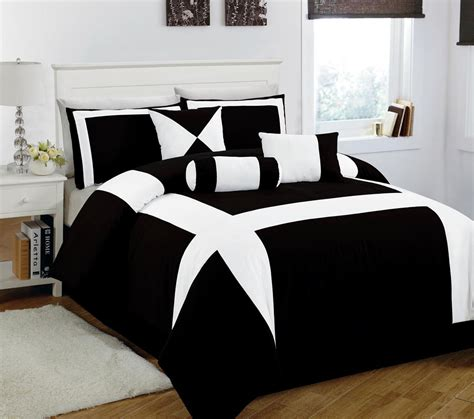 elegant black and white comforter set with small white