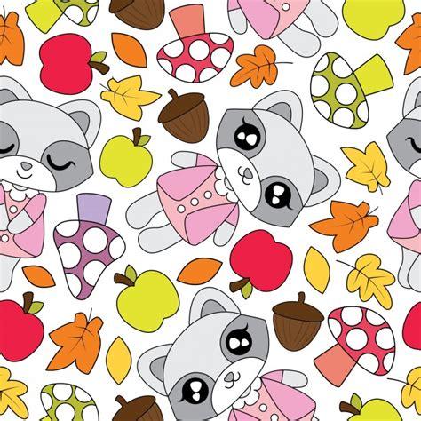 Squishy Apel Gigit Apple Squishy naadloos patroon met schattige wasbeer meisjes appel