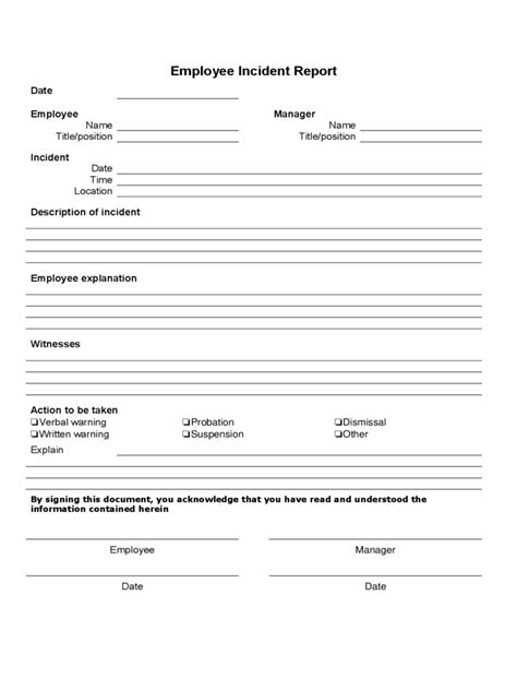 Report Document Template Employee Incident Report 4 Free Templates In Pdf Word
