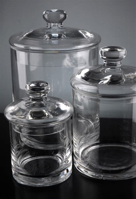 bathroom glass jars set of 3 clear glass apothecary canister jars 5 quot 7 quot 9 quot