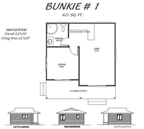 bunkie house plans bunkie 1 421 sq ft french s fine homes and cottages custom homes models in
