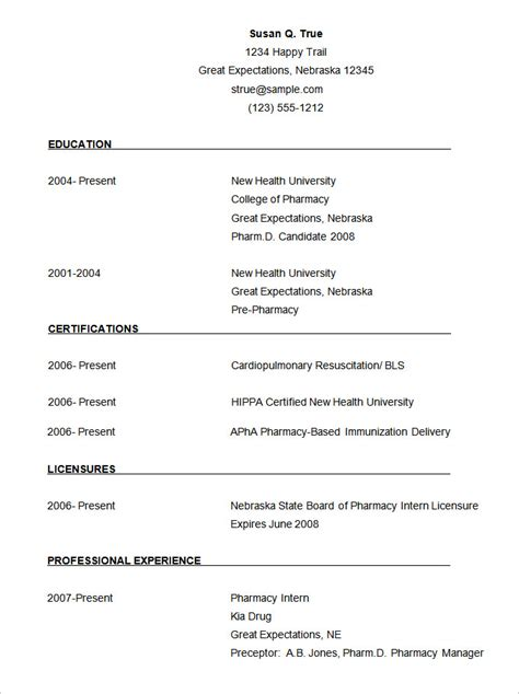 Template Of A Cv Free Download | cv templates 70 free sles exles format download