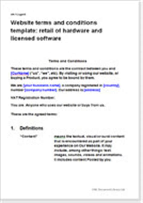 website terms and conditions template retail of hardware