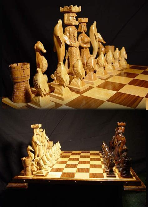custom chess sets chess set handmade atlantis chess set on etsy handcarved