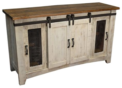 white barn door entertainment center rustic 70 quot white barn door media consol rustic