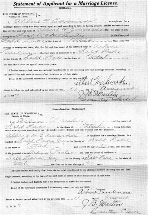 Salt Lake City Marriage Records Part 2 The Documents Reading Between The Lines The Marriage Records Of Arline Paulen And Albert F Edwards
