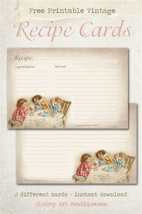 vintage recipe card psd template free printable vintage recipe cards shabby boutique