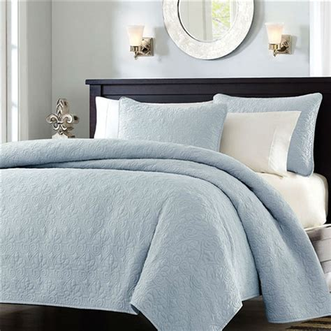 Light Blue Coverlet Size Quilted Bedspread Coverlet With 2 Shams