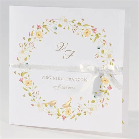 Einladungskarten Hochzeit Mit Anh Nger by Einladungskarte Zur Hochzeit Mit Buntem Blumenkranz