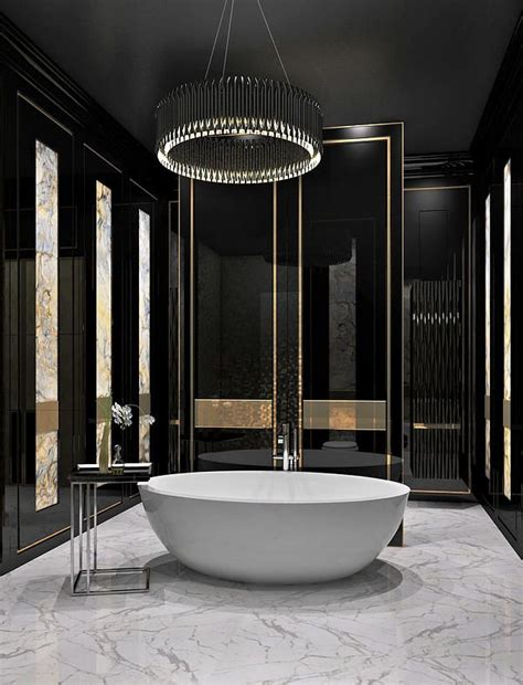 Check out this bathroom and the sleek black and gold theme www