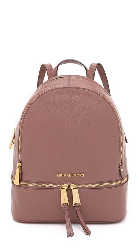 lyst michael michael kors rhea backpack navy in pink