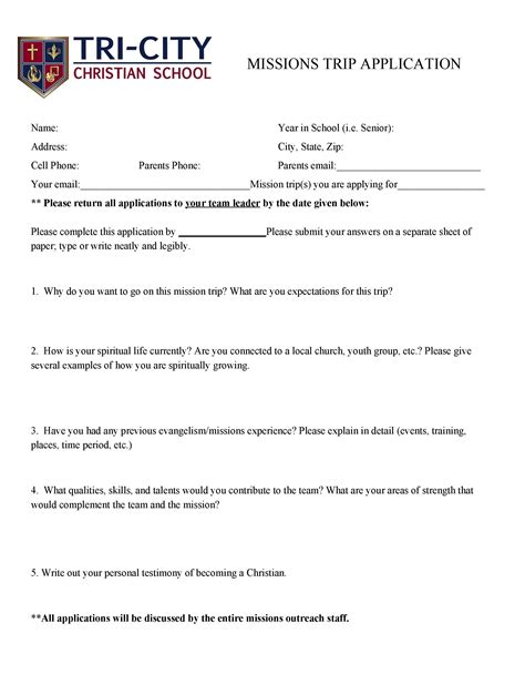 College Application Essay Mission Trip missions trip application tri city christian school