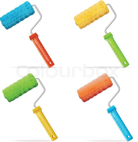 vector roller brushes set with colors paint stock vector colourbox