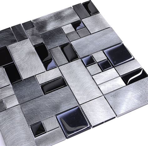 Modern Tile Black Glass Metal Backsplash Tile Sheet Modern