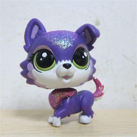 lps ebay dogs littlest pet shop collection lps glitter white purple collie puppy ebay