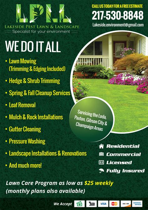 colorful professional flyer design for lakeside pest lawn