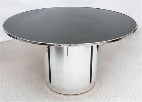 Chrome Pedestal Table black glass and chrome pedestal table at 1stdibs
