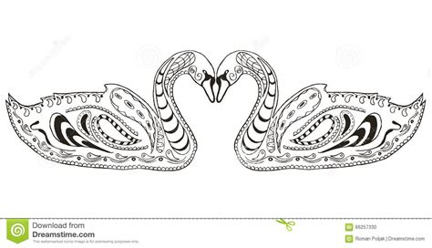 tattoo freehand pen two swans zentangle stylized illustration vector