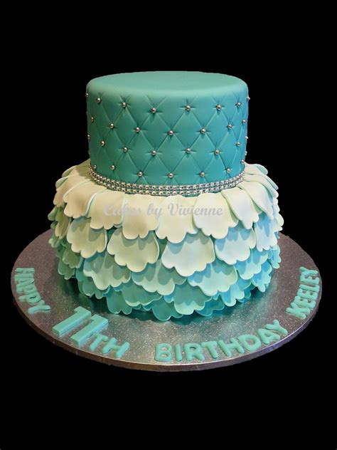 Turquoise Ombre Ruffle And Quilted Birthday Cake   CakeCentral.com