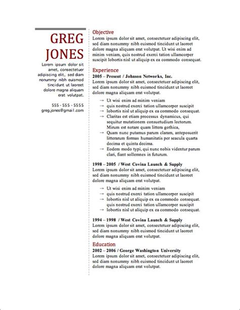 Microsoft Word Resume Template 2013 by 12 Resume Templates For Microsoft Word Free Primer