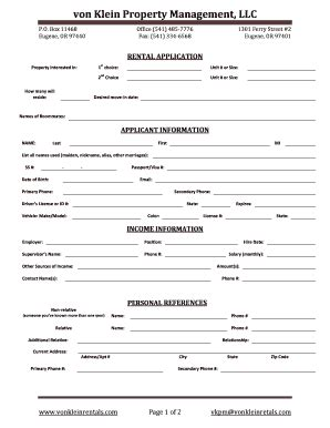 Rental Property Management Application Fillable Application Form Klein Property