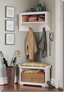 mini mudroom corner storage bench