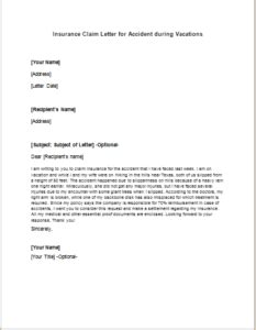 Thank You Letter For Insurance Claim Insurance Claim Letter For During Vacations Writeletter2
