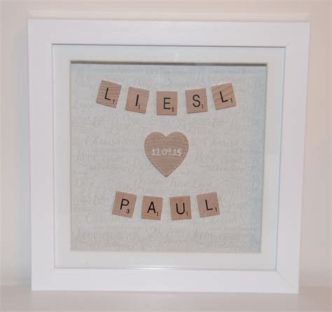 scrabble anniversary wedding or anniversary personalised scrabble frame