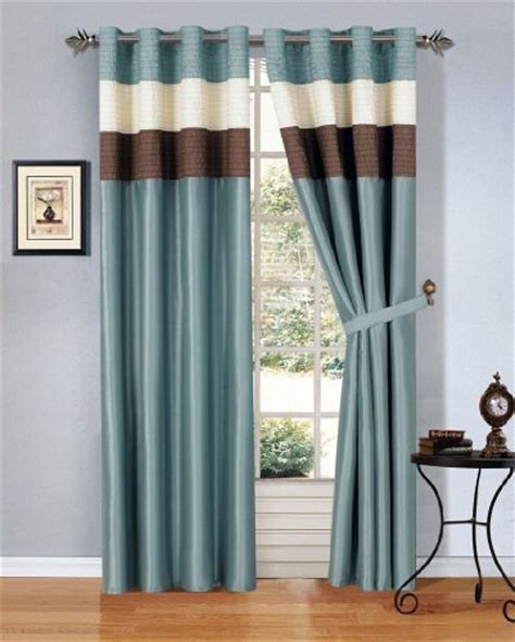 Brown And Blue Curtains Panels Modern Blue Brown Beige Faux Silk Taffeta Grommet Window Curtain Drape Set 108 By 84 Inch