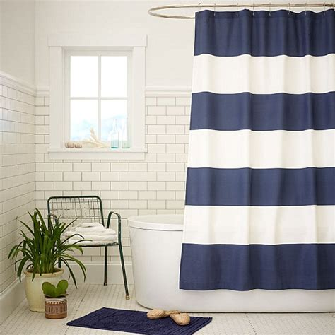 White And Navy Striped Curtains Navy And White Stripe Shower Curtain