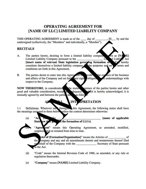 11 operating agreement templates free sample example format