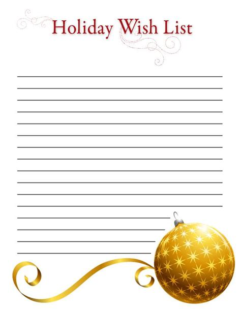 wish list template printable ornament wish list free printable coloring pages