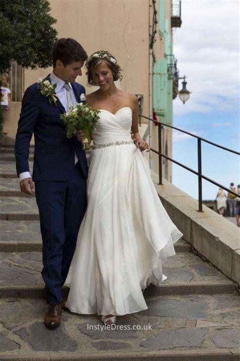 Floor Length Wedding Dress by Amazing A Line Strapless Sweetheart Floor Length Chiffon
