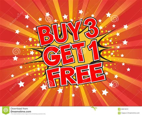 Toyota Buy Three Get One Free Buy 3 Get 1 Free Wording In Comic Speech On Burst