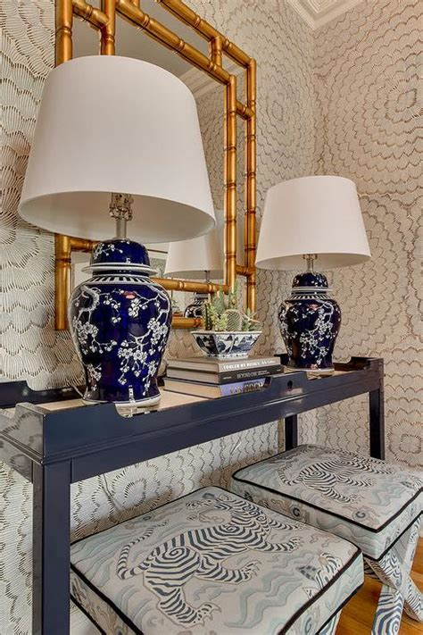 blue entry table schumacher celerie kemble feather bloom wallpaper with