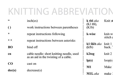 knitting abbreviations knitting abbreviations thefashiontamer