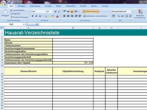 Autoversicherungen Liste by Hausratliste Excelvorlage De